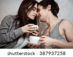 young beautiful pair of lovers... | Shutterstock . vector #387937258