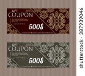 gift vouchers. coupon discount... | Shutterstock .eps vector #387939046