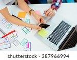 overhead picture of coworkers... | Shutterstock . vector #387966994
