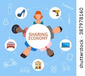 sharing economy and smart... | Shutterstock . vector #387978160