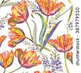 hand drawn watercolor summer... | Shutterstock . vector #387979510