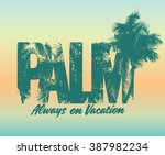 One Color Summer Palm Print  ...