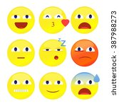 set of 3d smiley faces with... | Shutterstock .eps vector #387988273