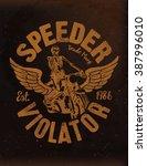 vintage motorcycle label  ... | Shutterstock .eps vector #387996010