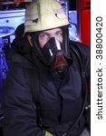 portrait of firefighter in mask   Shutterstock . vector #38800420