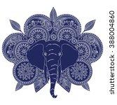 indian pattern  elephant  dark... | Shutterstock .eps vector #388004860