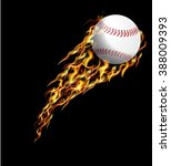 baseball in fire.  | Shutterstock .eps vector #388009393