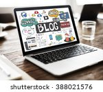 blog blogging social media... | Shutterstock . vector #388021576