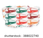 tourism concept  bus icons on... | Shutterstock . vector #388022740