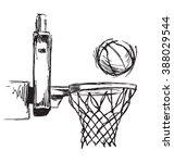 hand sketch basketball hoop and ... | Shutterstock .eps vector #388029544