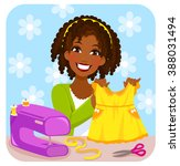 young woman sewing a dress for... | Shutterstock .eps vector #388031494