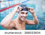 Handsome Man Wearing Swim Cap...