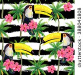 seamless jungle pattern with... | Shutterstock .eps vector #388041808