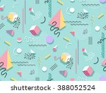 memphis pattern of geometric... | Shutterstock .eps vector #388052524