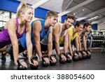 fitness class in plank position ... | Shutterstock . vector #388054600