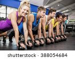 fitness class in plank position ... | Shutterstock . vector #388054684