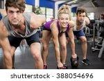 fitness class lifting dumbbells ... | Shutterstock . vector #388054696