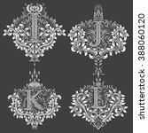 set of ornamental monogram in...