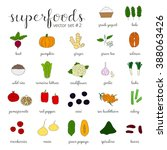 hand drawn superfoods isolated...   Shutterstock .eps vector #388063426