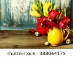 spring tulips in vases and... | Shutterstock . vector #388064173