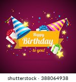 birthday card or flyer or... | Shutterstock . vector #388064938