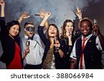 happy people celebrating the... | Shutterstock . vector #388066984