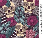 hand drawn tattoo mexican scull ... | Shutterstock .eps vector #388067953