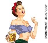 vector pin up girl waitress...   Shutterstock .eps vector #388070359