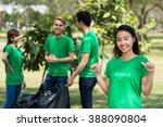 Small photo of Pretty activist happy to do voluntary work