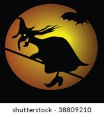 witch and bat front of moon | Shutterstock .eps vector #38809210
