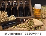 beer crate and beer glass with... | Shutterstock . vector #388094446