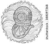 antique divers helmet hand draw ... | Shutterstock .eps vector #388097368