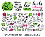 handwritten food elements and... | Shutterstock . vector #388105159