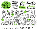 handwritten food elements with... | Shutterstock . vector #388105210
