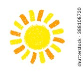 hand drawn sun. painted with... | Shutterstock .eps vector #388108720