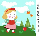 snow white princess with apple... | Shutterstock .eps vector #388112506
