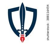 nib   pen   sword and shield... | Shutterstock .eps vector #388116454