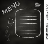 the chalk board menu for a bar... | Shutterstock .eps vector #388124470