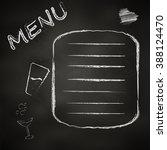 the chalk board menu for a bar...   Shutterstock .eps vector #388124470
