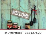 Welcome Sign Hanging On Antiqu...