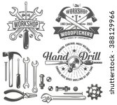 vintage  retro emblem repair... | Shutterstock .eps vector #388129966