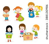 kids collecting bottles for... | Shutterstock .eps vector #388130986