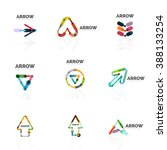 set of linear arrow abstract... | Shutterstock .eps vector #388133254
