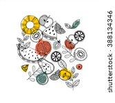 fruit composition. scandinavian ... | Shutterstock .eps vector #388134346