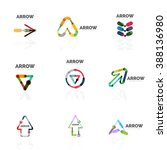set of linear arrow abstract... | Shutterstock . vector #388136980
