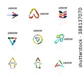 set of linear arrow abstract... | Shutterstock . vector #388137070