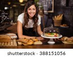 pretty waitress behind the... | Shutterstock . vector #388151056