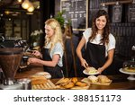 pretty waitresses behind the... | Shutterstock . vector #388151173
