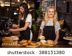 pretty waitresses behind the... | Shutterstock . vector #388151380