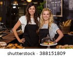 pretty waitresses behind the... | Shutterstock . vector #388151809